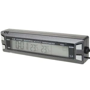 3,8'' LCD digitálne hodiny s vnútorným / vonkajším teplomerom + meranie napätia pre vozidlá