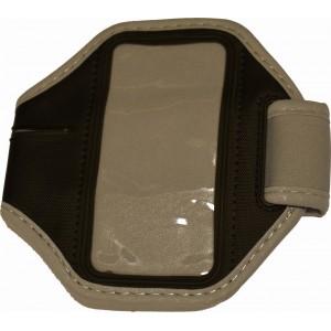 Šedé športové púzdro na ruku pre iPhone 5 / iPhone 4 4S s dierou na slúchadlá