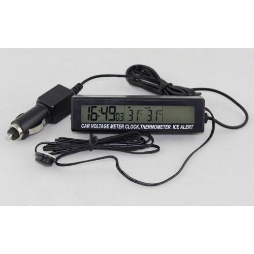 3v1 Teplomer, hodiny, voltmeter do auta s externym senzorom teploty